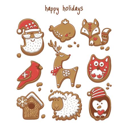 Kerstkoekjes geïsoleerd op wit. vector illustratie