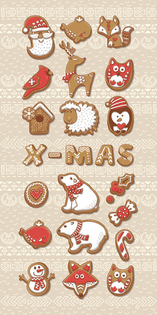 Big set of Cute Christmas cookies. Vector illustration.