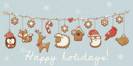 snow cardinal: Garland set design with Christmas cookies. Vector illustration