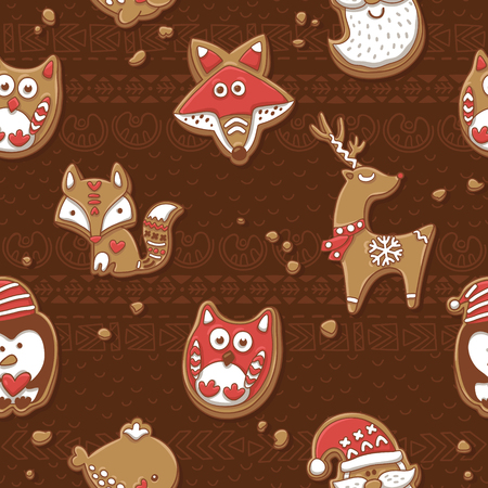xmas background: Winter holiday vector Xmas design background with cookies owl, fox, deer, santa, whale and penguin