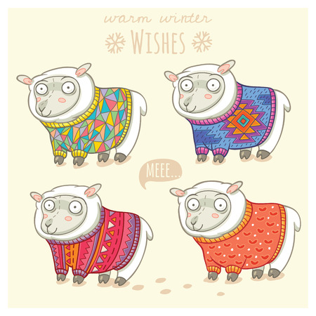 year of sheep: Vector new year card with cute four sheep in knitted sweaters