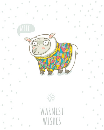 warmest: Warmest wishes. Winter card with cute sheep in knitted sweater