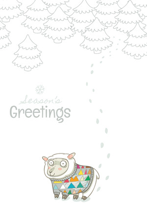 year of sheep: Christmas and New Year card with sheep knitted sweater Illustration