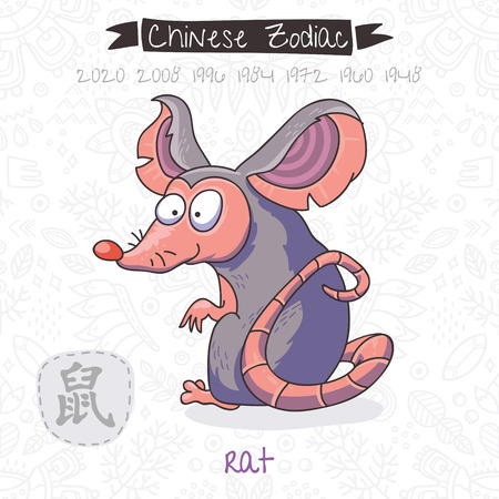 Funny Chinese zodiac animal. Rat. Chinese astrology in vector Illustration
