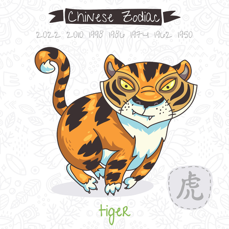 Funny Chinese zodiac animal. Tiger. Chinese astrology in vector