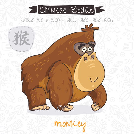 chinese astrology: Funny Chinese zodiac animal. Monkey. Chinese astrology in vector Illustration