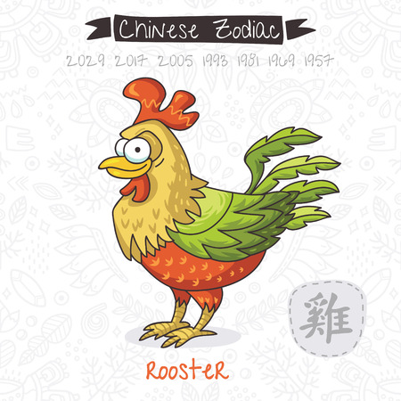 Funny Chinese zodiac animal. Rooster. Chinese astrology in vector