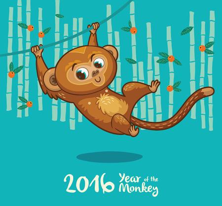 mono caricatura: Ilustraci�n del vector del mono en estilo de dibujos animados, s�mbolo de 2016 en el calendario chino