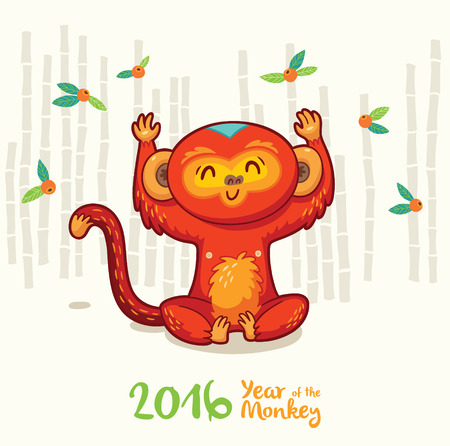 liana: Vector illustration of monkey in cartoon style, symbol of 2016 on the Chinese calendar