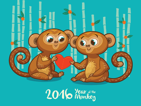 monkey cartoon: Vector illustration of monkey in cartoon style, symbol of 2016 on the Chinese calendar