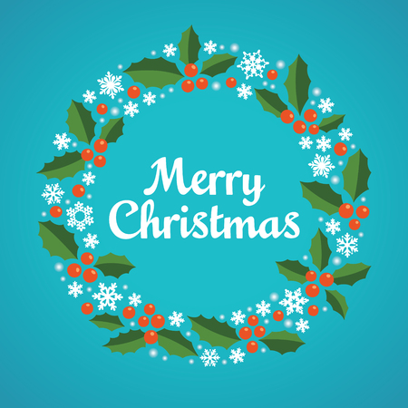 Christmas wreath with a wish of Merry Christmas. Vector illustration.  イラスト・ベクター素材
