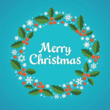 Kerst krans met een wens van Merry Christmas. Vector illustratie.