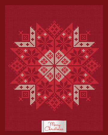 Christmas and New Year knitted card with snowflake. Scandinavian knitted ornaments. Creative vector illustration. Illustration