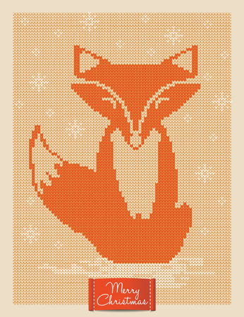 knitting: Christmas and New Year knitted card with fox. Scandinavian knitted ornaments. Creative vector illustration. Illustration