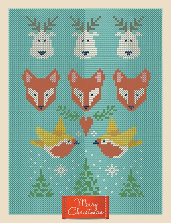 Christmas and New Year knitted card with foxes, deers and birds. Scandinavian knitted ornaments. Creative vector illustration.