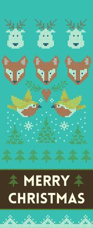 zorro: dise�o de banners verticales de fondo con textura de punto. Banner de Navidad con ciervos, zorros y aves. Ilustraci�n del vector para las vacaciones de invierno en estilo escandinavo Vectores