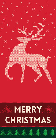 fabric texture: Banner design vertical background with knitted texture. Christmas banner with reindeer. Vector illustration for winter holiday in scandinavian style