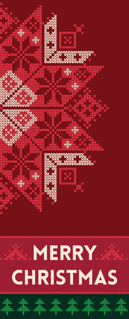 scandinavian winter: Banner design vertical background with knitted texture. Christmas banner with snowflake. Vector illustration for winter holiday in scandinavian style