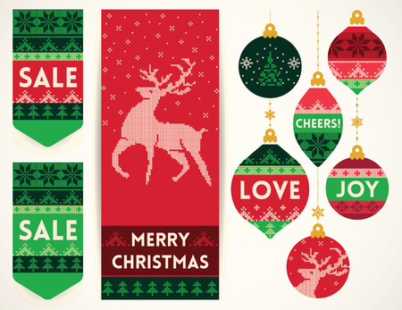 Christmas banner with reindeer, holiday Christmas balls, and sale elements in knitting style. Creative vector set