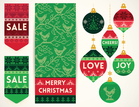 creative: Christmas banner with birds, holiday Christmas balls, and sale elements in knitting style. Creative vector set