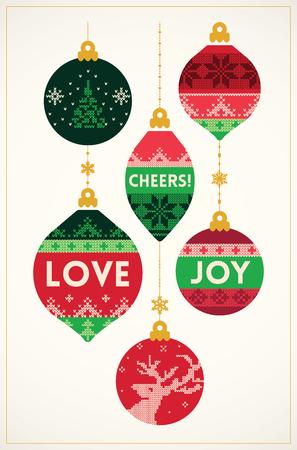 ビンテージ スタイルのニット ボール クリスマス カード。ベクトル図