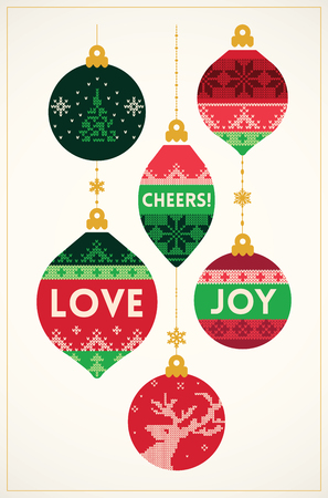 Knitted balls Christmas card in vintage style. Vector illustration