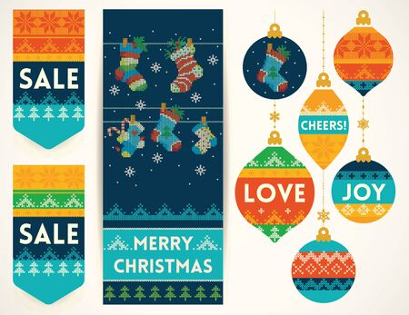 socks: Christmas banner with holiday socks, holiday Christmas balls, and sale elements in knitting style. Creative vector set