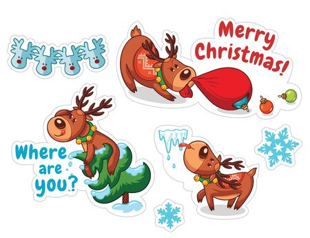 cartoon trees: Stickers with Christmas deers. Funny characters set. Vector illustration