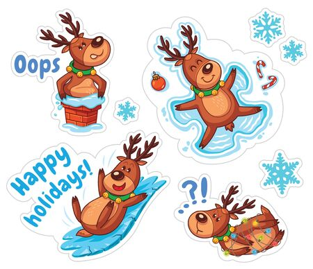 deer cartoon: Stickers with Christmas deers. Funny characters set. Vector illustration