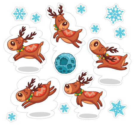 rudolph: Stickers with Christmas deers. Funny characters set. Vector illustration