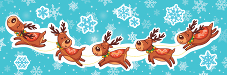Collection of cute vector Christmas sticker with cartoon deer
