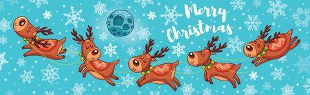 seasons greetings: Christmas greeting card. Deer team rides under the moonlight. Seasons Greetings. Holiday concept. Vector illustration.