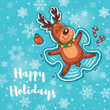 Christmas greeting card. Deer is Snow angel.  Illustration