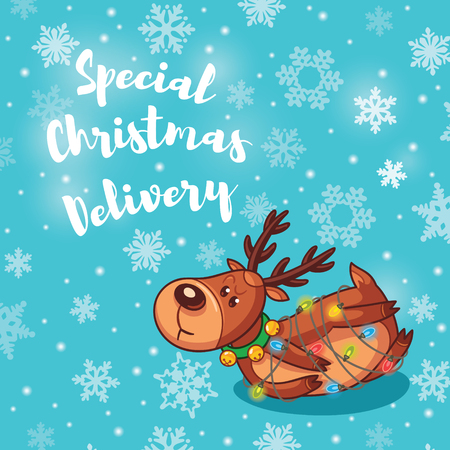 seasons greetings: Christmas greeting card. Deer got confused in a garland. Seasons Greetings. Holiday concept. Vector illustration. Vettoriali