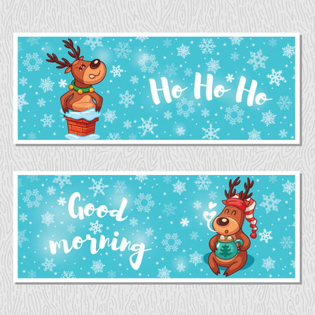 morning: Ho ho ho. Good morning. Banner design horizontal background set. Deer stuck in the chimney. Deer drinks hot chocolate in a nightcap. Vector illustration Illustration