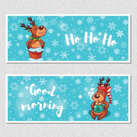 good morning: Ho ho ho. Good morning. Banner design horizontal background set. Deer stuck in the chimney. Deer drinks hot chocolate in a nightcap. Vector illustration Illustration