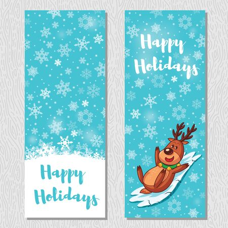 fun: Happy Holidays. Banner design vertical background set. Deer slides from ice slope. Vector illustration Illustration