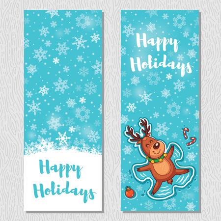 angel cartoon: Happy Holidays. Banner design vertical background set. Deer is Snow angel. Vector illustration