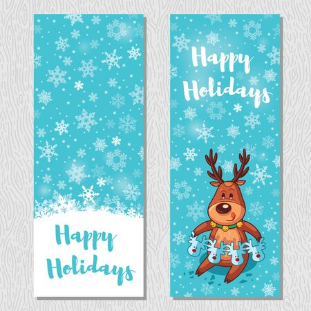 christmas banner: Happy Holidays. Banner design vertical background set. Deer cut out a garland. Vector illustration Illustration