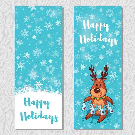 vertical banner: Happy Holidays. Banner design vertical background set. Deer cut out a garland. Vector illustration Illustration