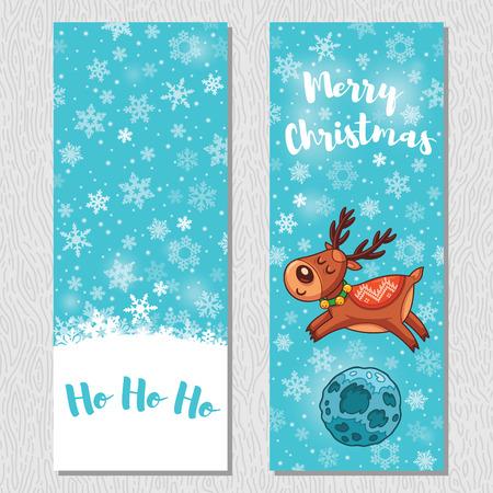 ho: Ho ho ho. Merry Christmas. Banner design vertical background set. Deer rides under the moonlight. Vector illustration Illustration