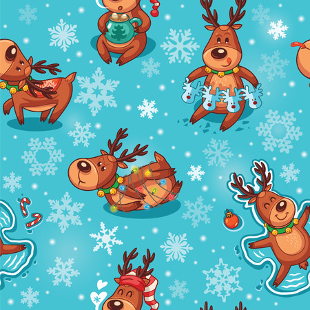 rudolph: Winter background with funny deers characters and snowflakes. Childish vector illustration. Illustration