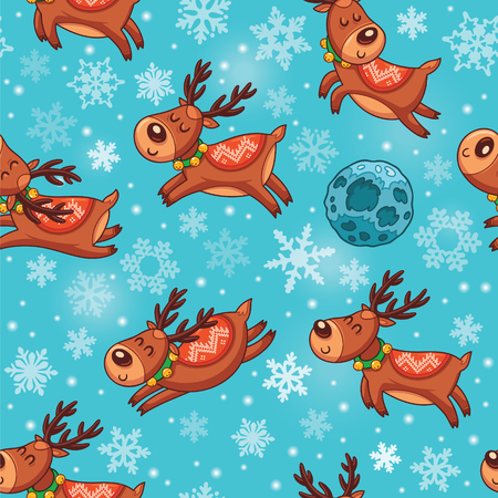 hand drawn cartoon: Winter background with funny deers characters and snowflakes. Childish vector illustration. Illustration