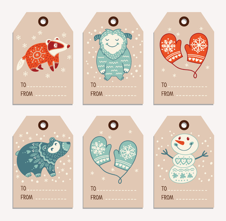 yeti: Vector Christmas labels collection with badger, cute bear, yeti, snowman and mittens. Holiday decoration elements with cartoon characters. Illustration