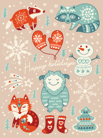 yeti: Winter set with badger, fox, yeti, snowman and raccoon. Vector illustration for christmas card