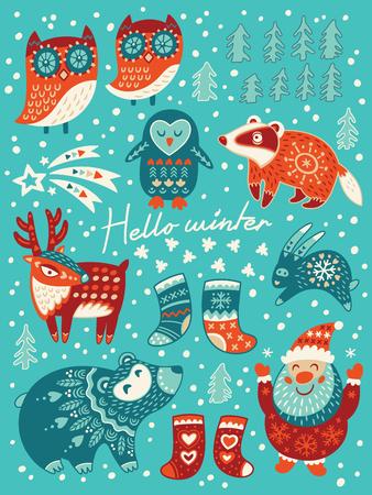 Winter set with santa, deer, owls, badger and socks. Vector illustration for christmas card