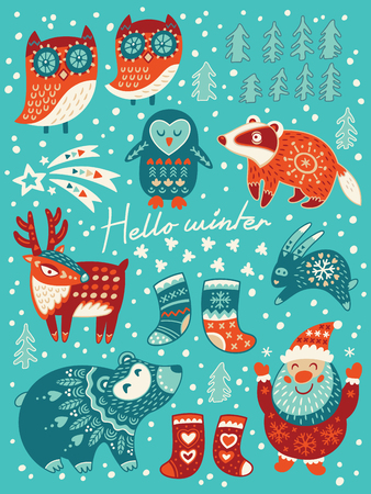 Winter set with santa, deer, owls, badger and socks. Vector illustration for christmas card
