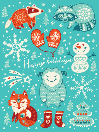 badger: Winter set with badger, fox, yeti, snowman and raccoon. Vector illustration for christmas card