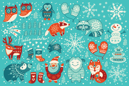 Christmas set with santa claus, happy yeti, lovely deer, tree, funny snowman, badger, raccoon, two owls, cute fox, socks and mittens. Vector illustration