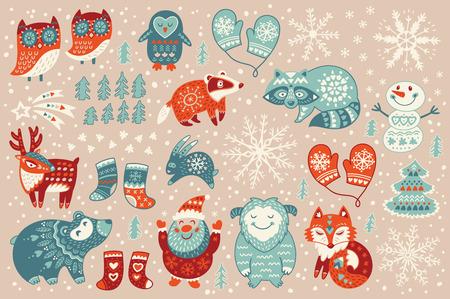 クリスマス ・ サンタ クロース、幸せのイエティ、素敵な鹿、ツリー、面白い雪だるま、アナグマ、アライグマ、二つのフクロウ、かわいいキツネ、ソックス、ミトンのセット。ベクトル図 写真素材 - 48827627